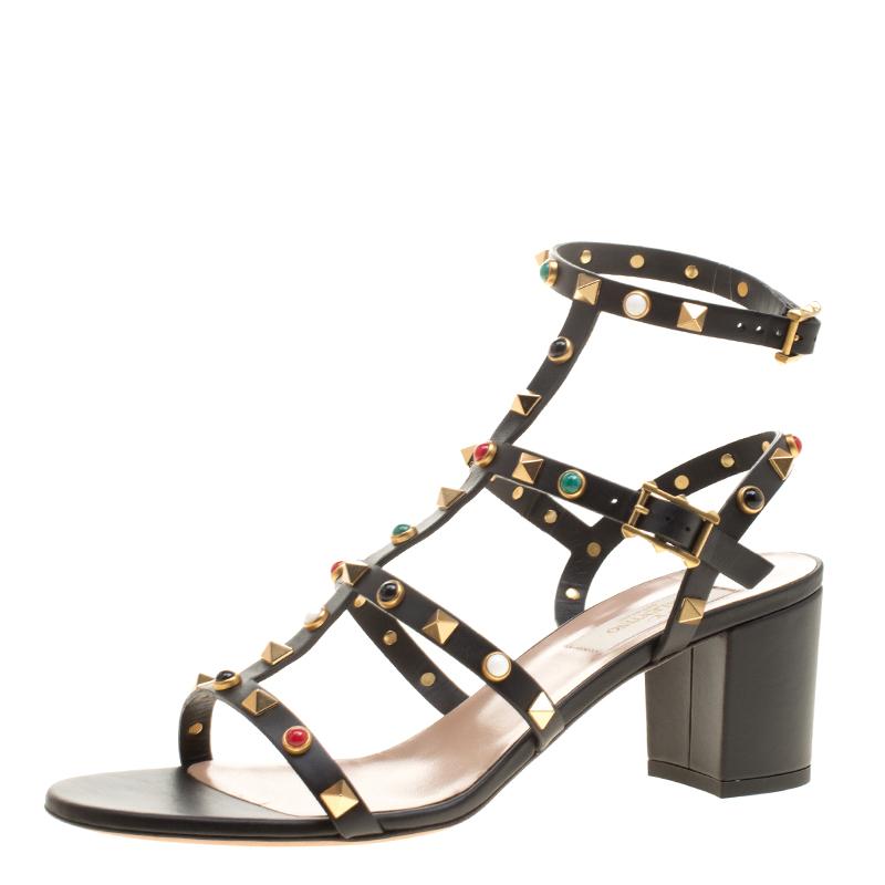 fffc87bc299 ... Valentino Black Leather Rolling Rockstud Cabochon Gladiator Sandals  Size 39. nextprev. prevnext