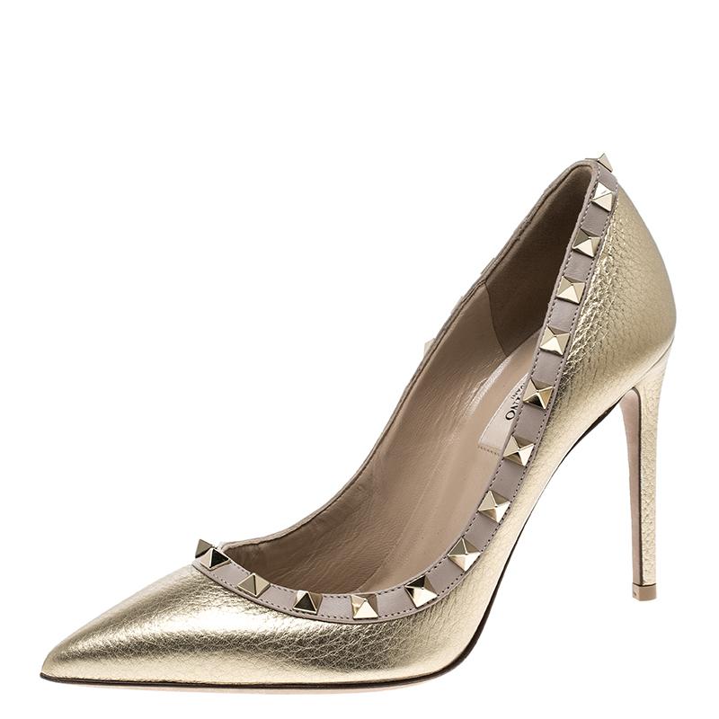 51660692f8ec2 ... Valentino Metallic Gold Leather Rockstud Pointed Toe Pumps Size 36.  nextprev. prevnext