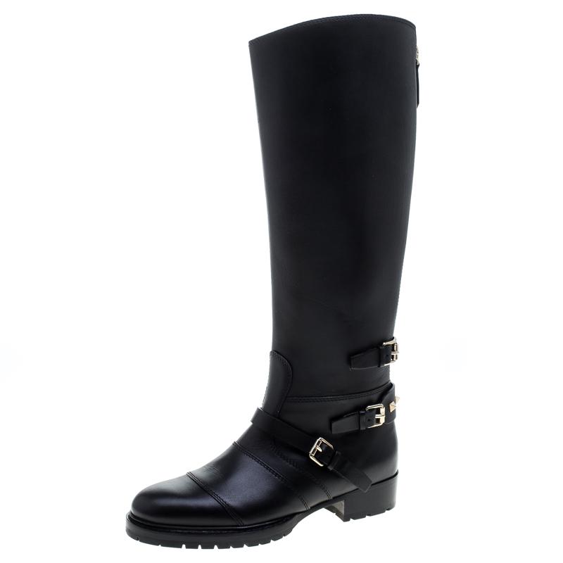 fcc5a0d8fb79 Buy Valentino Black Leather Rockstud Strap Knee Length Biker Boots ...