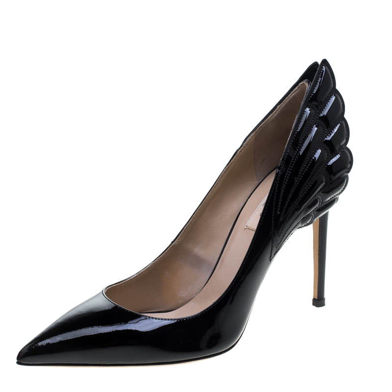 Valentino Black Patent Leather Wings Detail Pointed Toe Pumps Size 38