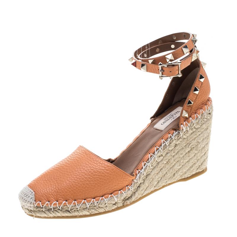 fef96dc2191 ... Valentino Tangerine Orange Leather Rockstud Ankle Strap Wedge  Espadrille Sandals Size 39. nextprev. prevnext