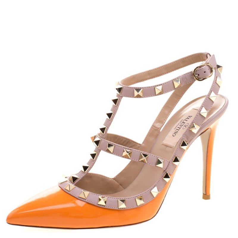 24b37bc4032a ... Valentino Orange and Beige Patent Leather Rockstud Sandals Size 37.  nextprev. prevnext