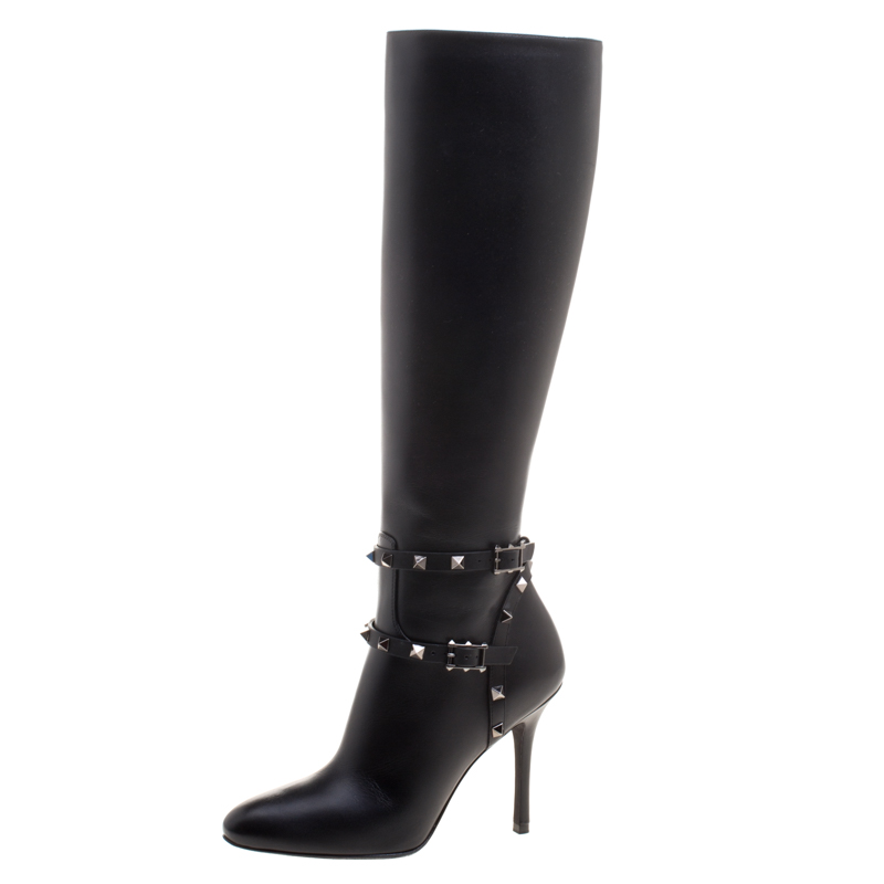 Valentino Black Leather Rockstud Knee Length Boots Size 37