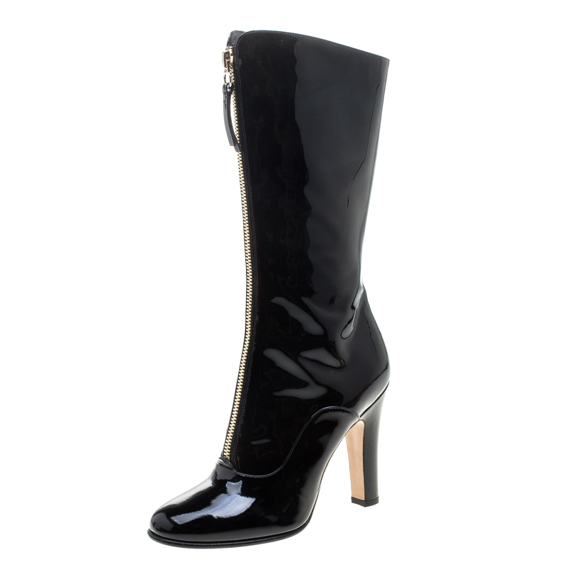 1b4dbe5a86b Buy Valentino Black Patent Leather Zip Detail Mid Calf Boots Size 38 ...