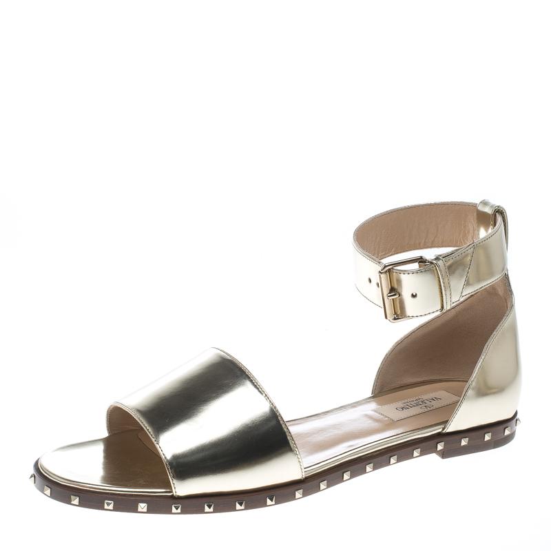 ead96d946003 ... Valentino Gold Leather Soul Rockstud Ankle Strap Flat Sandals Size 39.  nextprev. prevnext