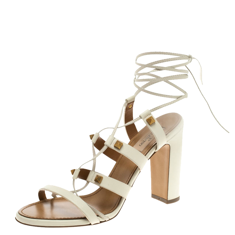 101c6e2ed4d2 ... Valentino White Leather Rockstud Block Heel Gladiator Lace Up Sandals  Size 39. nextprev. prevnext