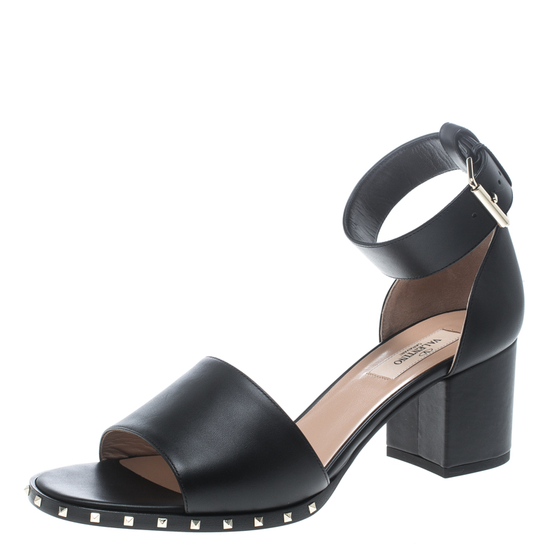 7630cf4075d4e Buy Valentino Black Leather Soul Rockstud Ankle Strap Block Heel ...