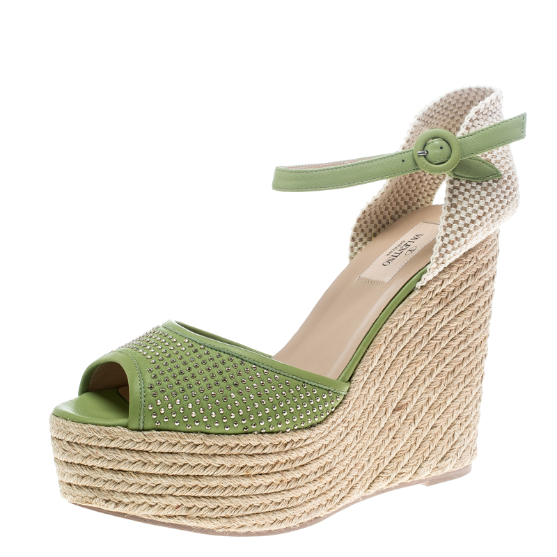 22e3a34a3f7c00 ... Studded Leather Espadrille Wedge Ankle Strap Sandals Size 41. nextprev.  prevnext