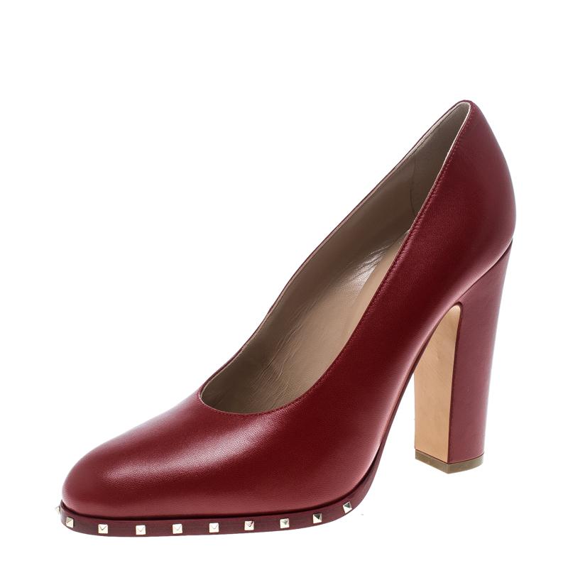 921c4348d ... Valentino Red Leather Soul Rockstud Block Heel Pumps Size 38.5.  nextprev. prevnext