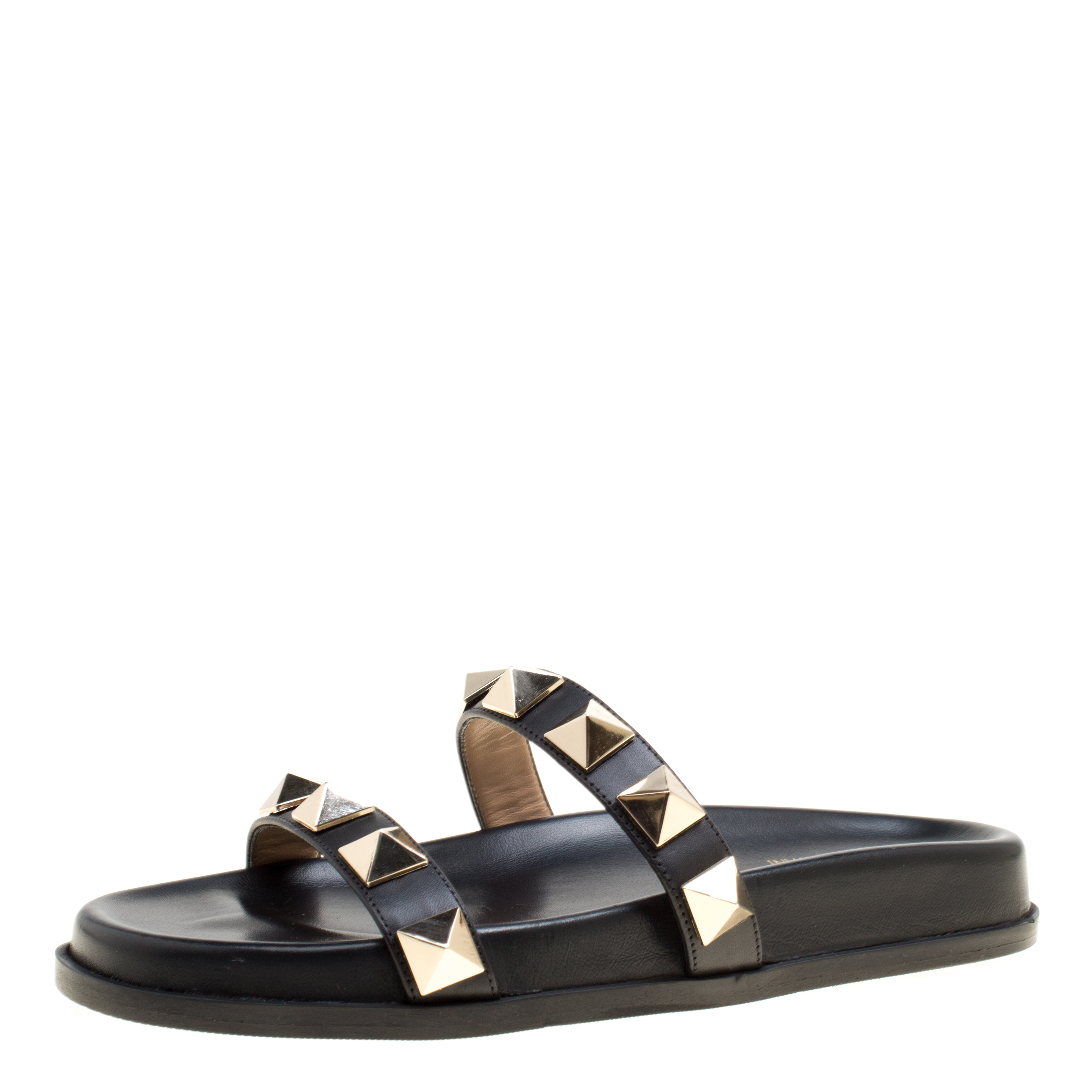 a54c277c4368 Buy valentino black leather two band rockstud slide sandals size jpg  3104x3104 Two straps slides women