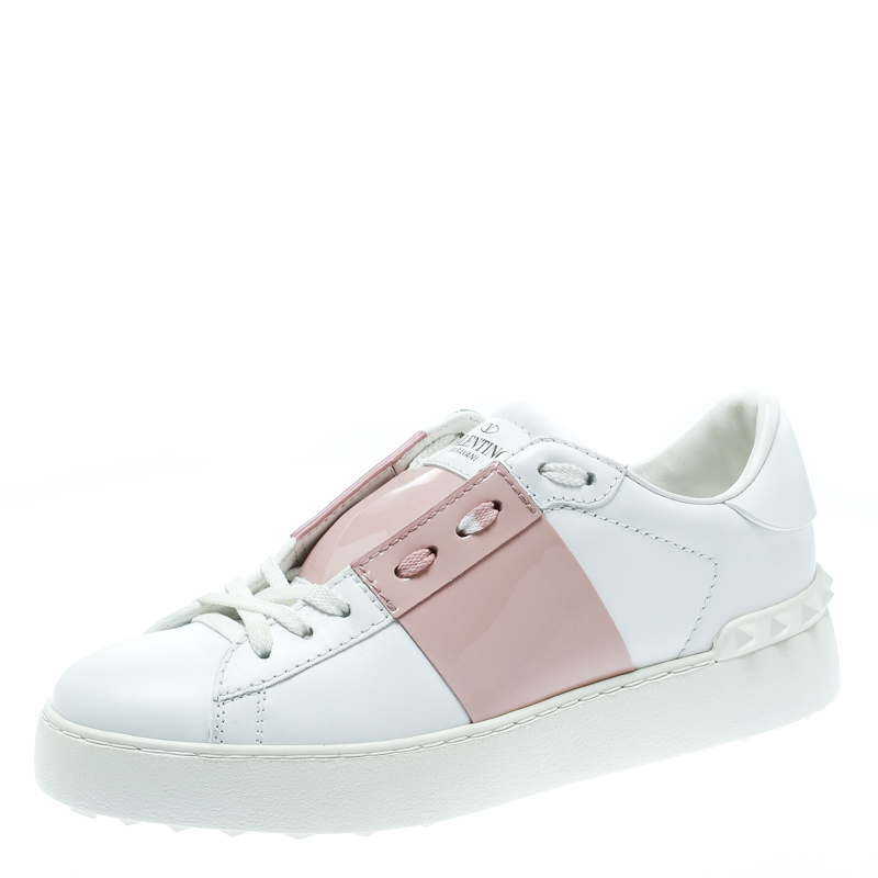 Valentino White and Blush Pink Band Leather Open Low Top Sneakers Size 36