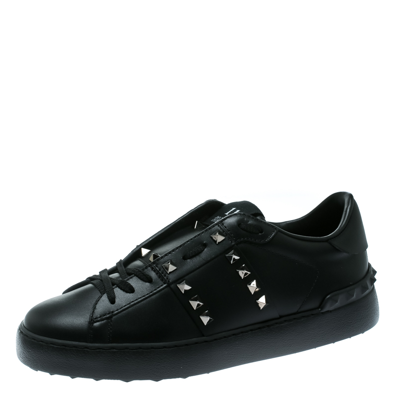 Valentino Black Leather Rockstud Untitled Low Top Sneakers Size 39.5