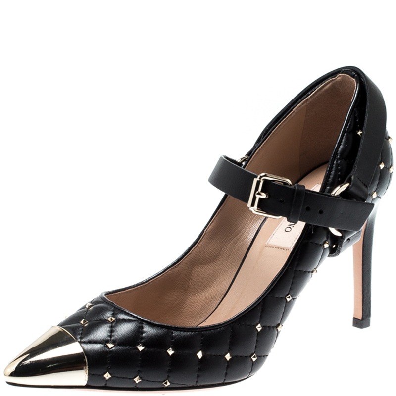 fc2dfb3d2db Valentino Black Quilted Leather Rockstud Spike Ankle Strap Cap Toe Pointed  Pumps Size 36