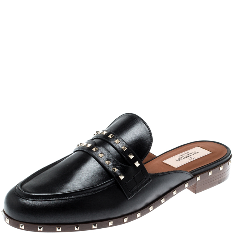 the latest cute best authentic Buy Valentino Black Leather Soul Rockstud Flat Mules Size 37 ...