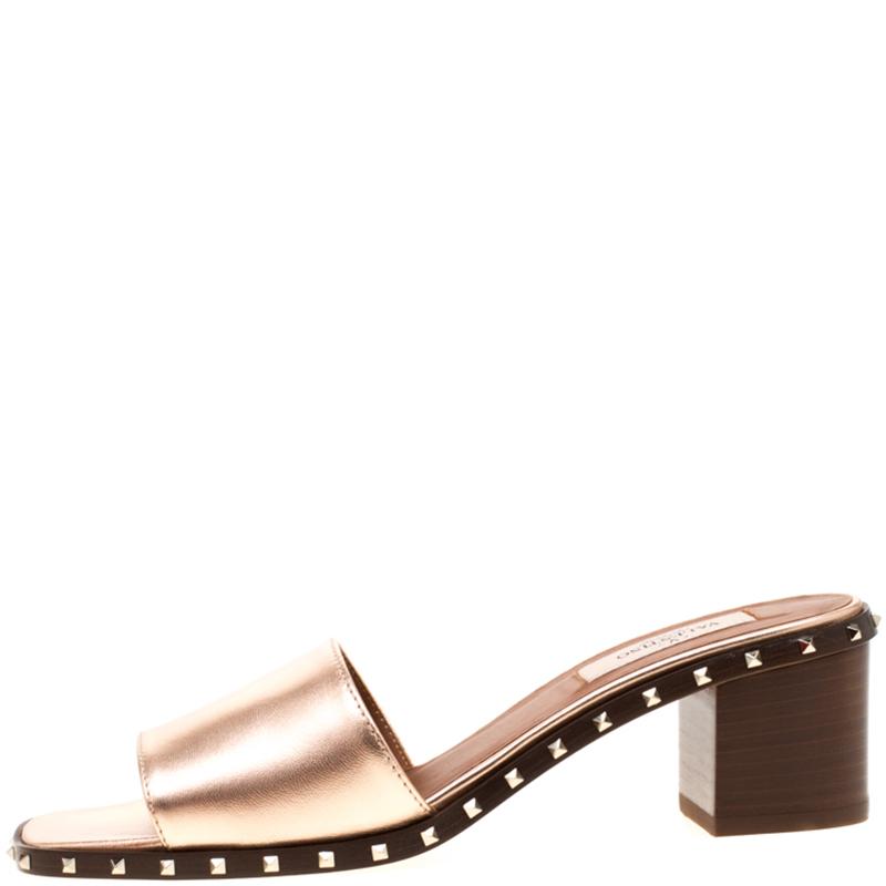 Valentino Poudre Cuir Âme Rockstud Diapositive Mules Taille 38