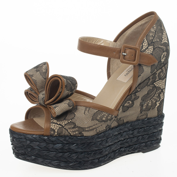 def12b8763e Buy Valentino Bow Lace Platform Espadrille Wedges Size 38 23369 at best  price