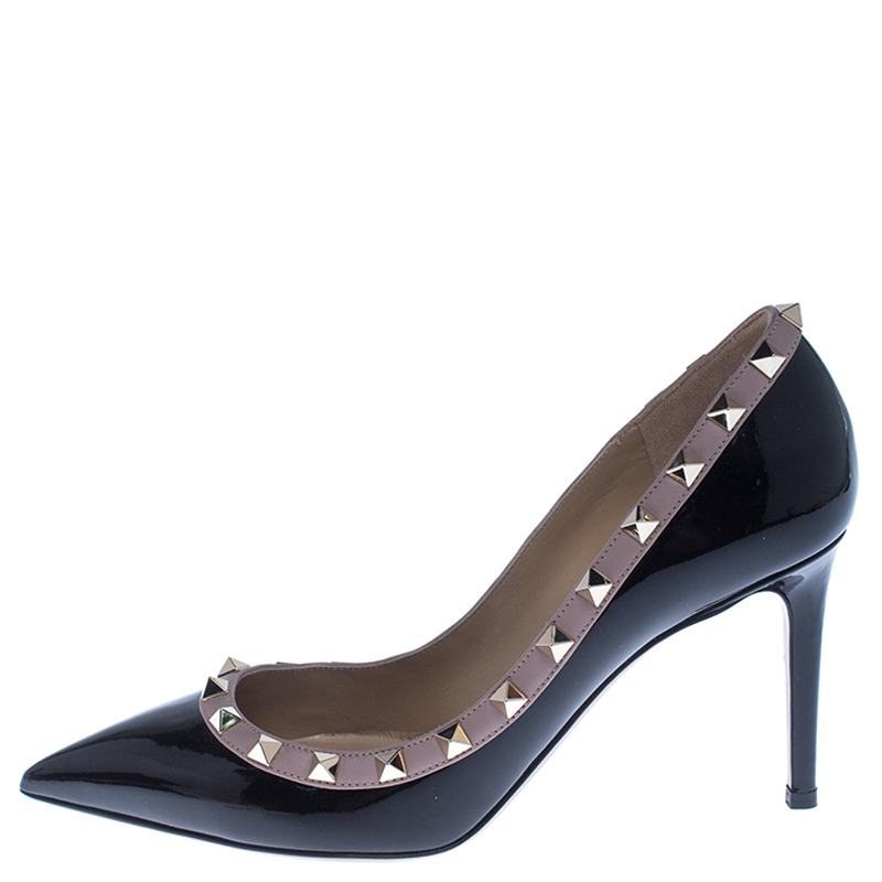 Valentino Black Patent Leather Rockstud Pointed Toe Pumps Size