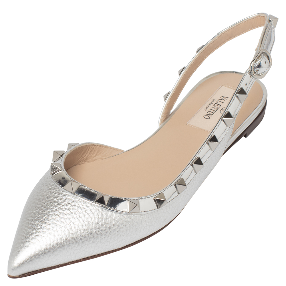 Valentino Metallic Silver Leather Rockstud Embellished D'orsay Flats Size 36.5