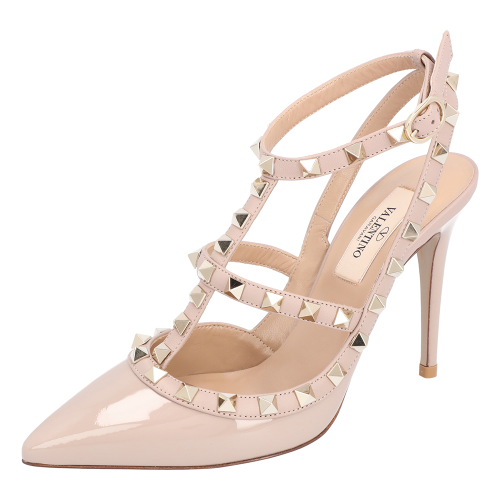 Valentino Light Pink Rockstud Patent Leather Caged 100 Ankle Strap Size 40