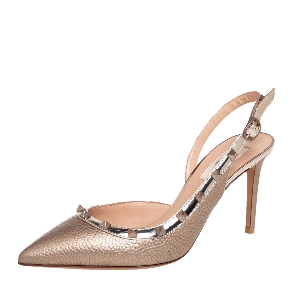 Valentino Metallic Gold Leather Rockstud Slingback Sandals Size 38.5