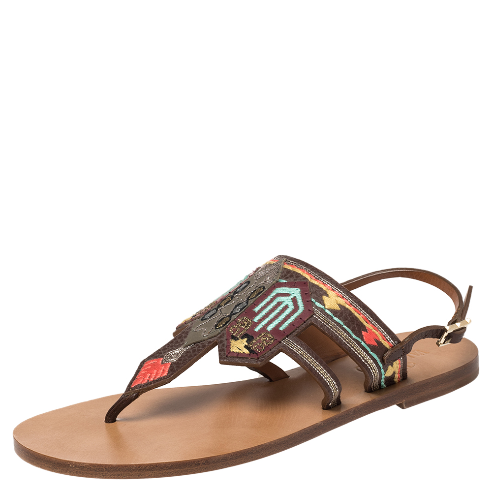 Pre-owned Valentino Garavani Brown Embroidered Leather Killim Flat Slingback Sandals Size 38