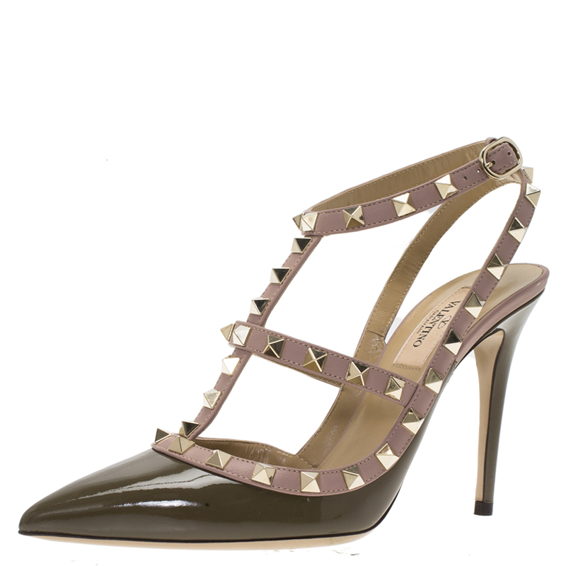 01d1256bcae9 Buy Valentino Olive Green Patent and Beige Leather Rockstud Sandals Size 38  80330 at best price