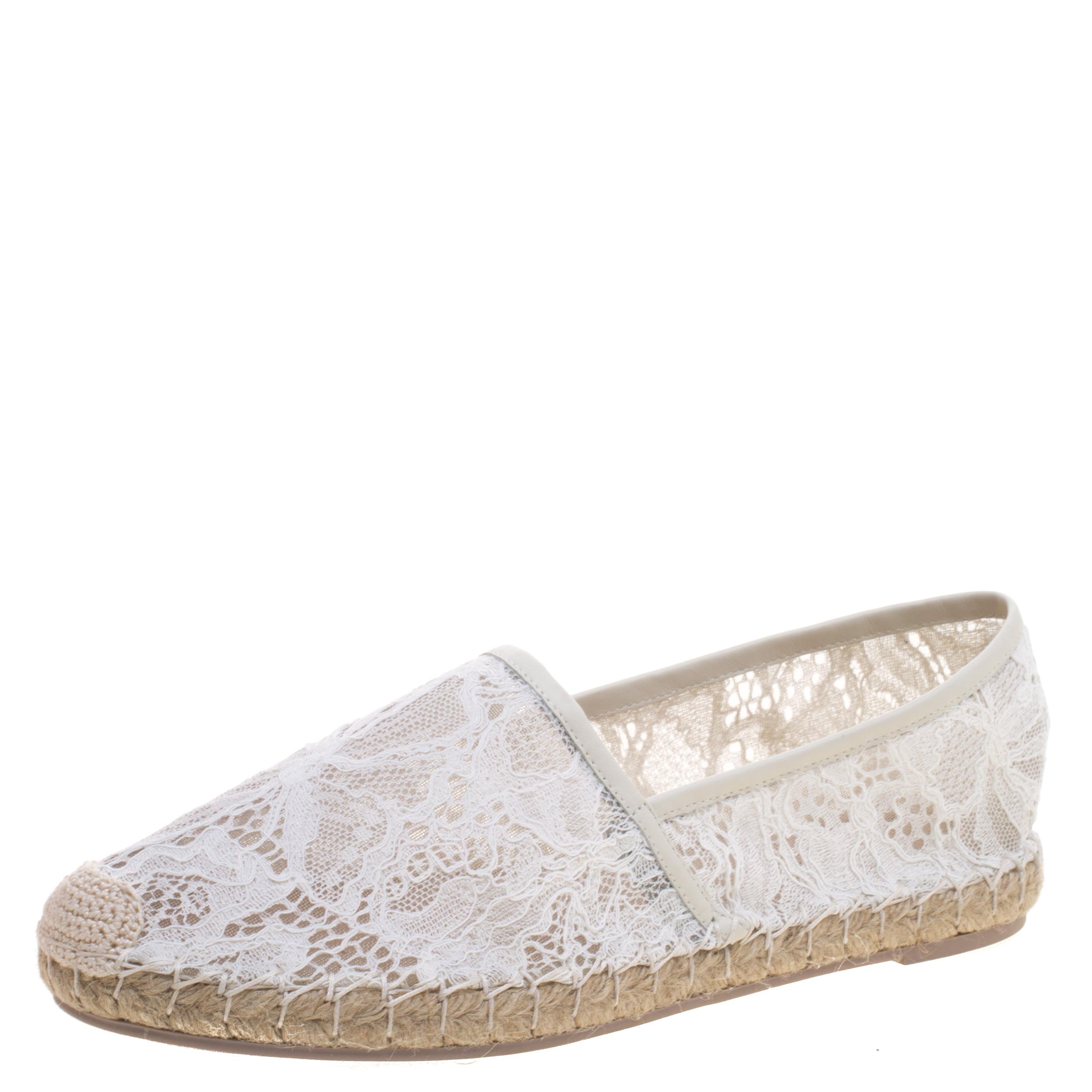 Valentino White Lace Espadrille Flats