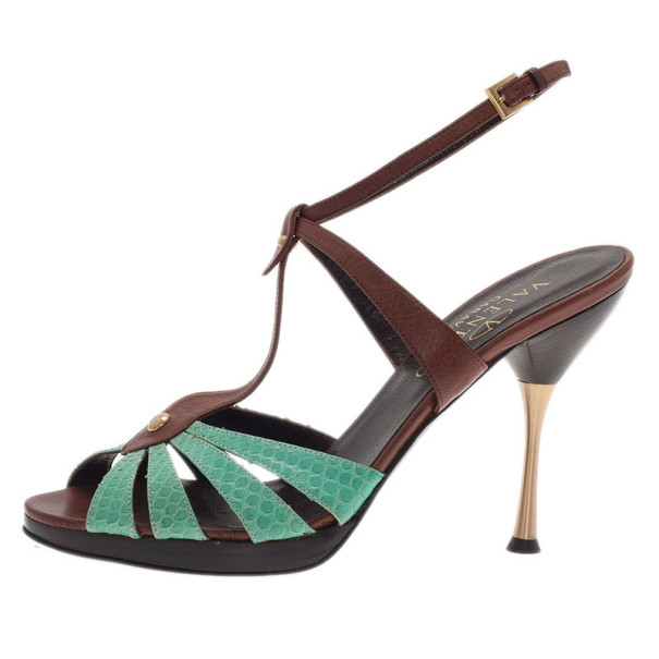 0f6a7c561bc9 ... Valentino Turquoise and Brown Leather Ankle Strap Sandals Size 37.5.  nextprev. prevnext