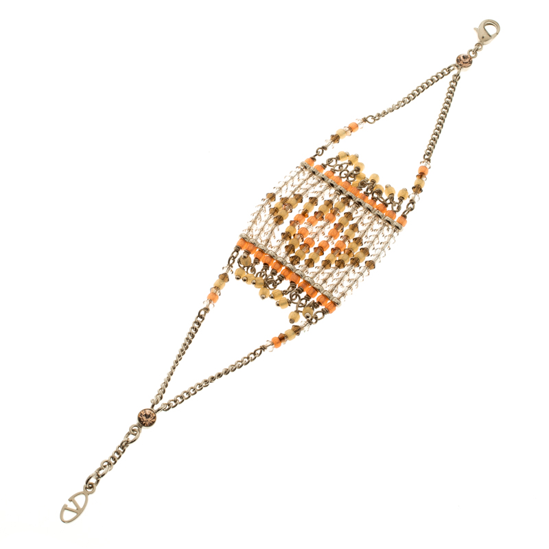 Valentino Multicolor Geometric Beaded Gold Tone Bracelet