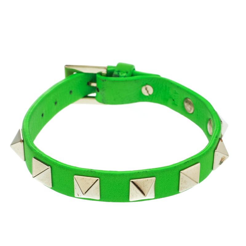 Valentino Rockstud Green Leather Gold Tone Bracelet
