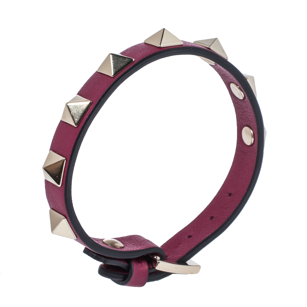 Valentino Raspberry Pink Leather Pale Gold Tone Rockstud Bracelet  - buy with discount