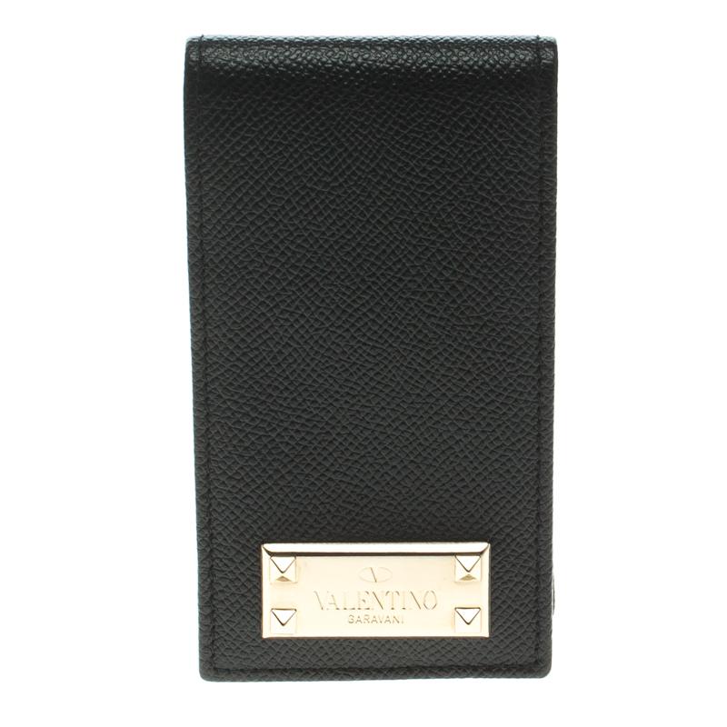 Купить со скидкой Valentino Black Leather Rockstud Logo iPhone 5 Flip Case
