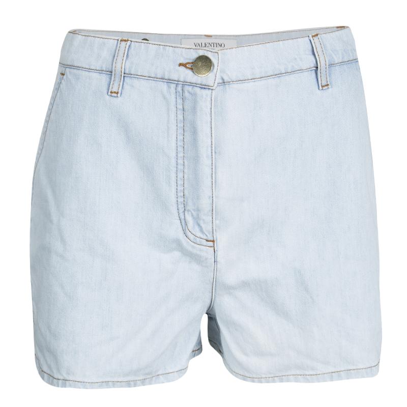 Купить со скидкой Valentino Blue Light Wash High Waist Denim Shorts S