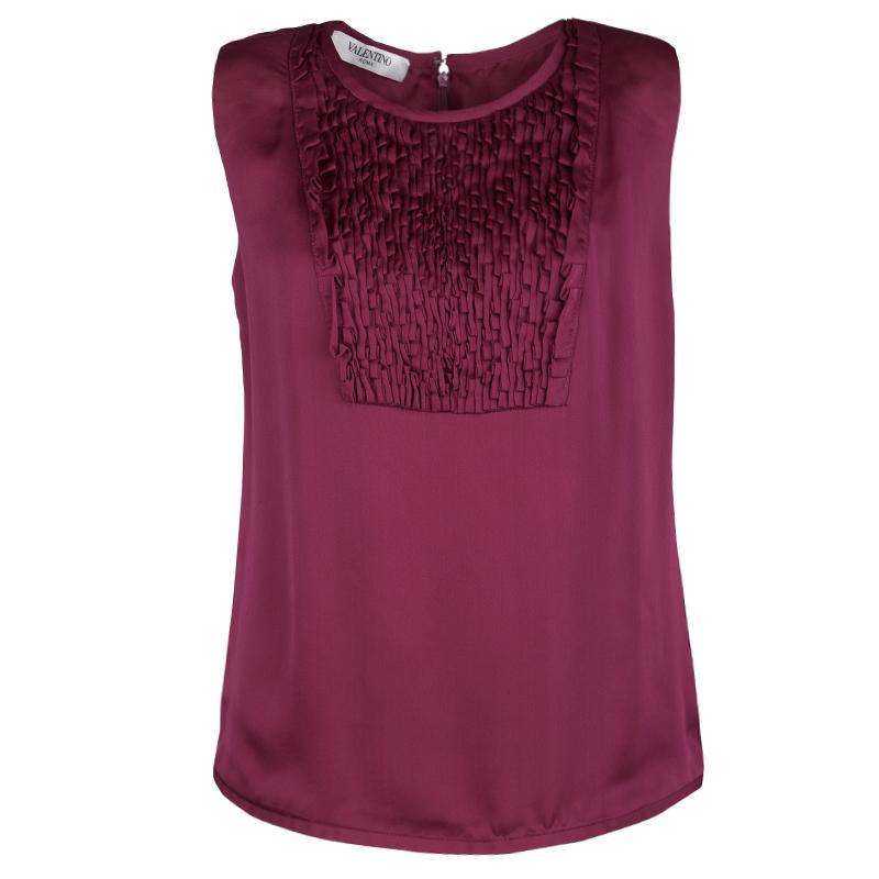 3b6b62d942b Buy Valentino Burgundy Silk Satin Textured Yoke Detail Sleeveless ...