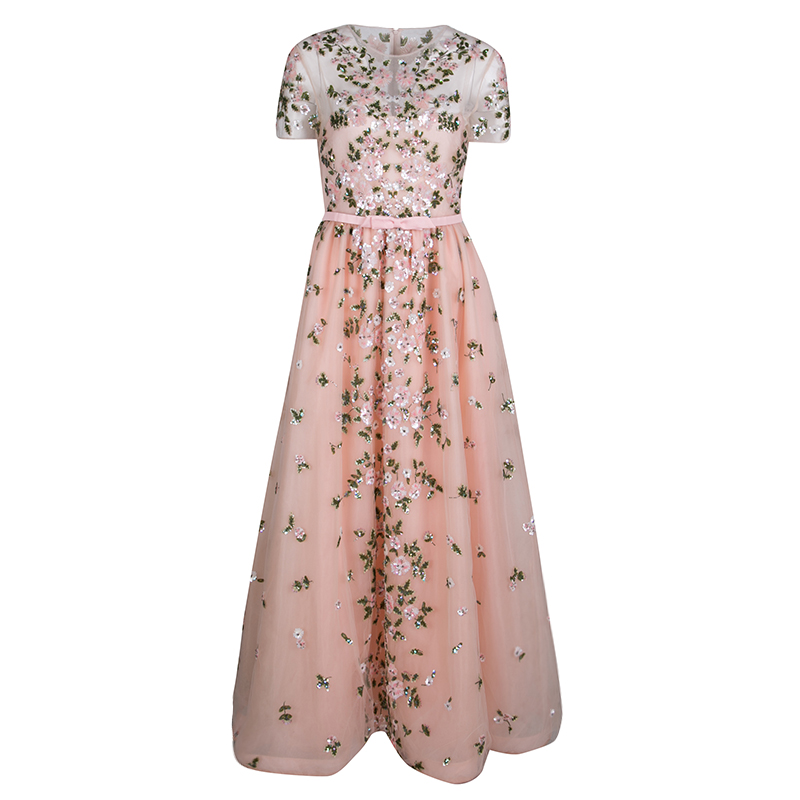 Valentino Pink Floral Embellished Belted Tulle Gown M