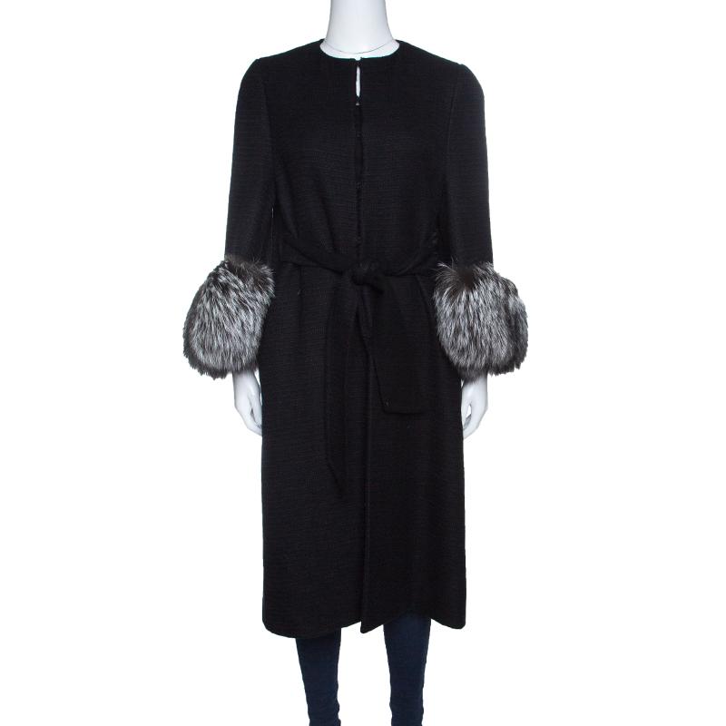 Valentino Black Wool Blend Fox Fur Trim Belted Overcoat M