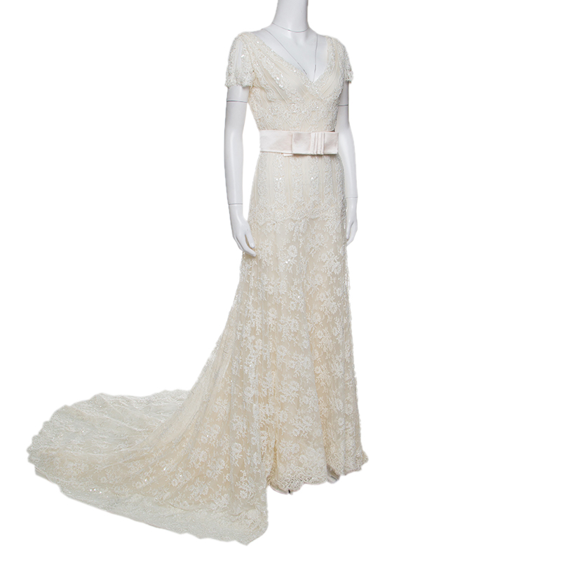Valentino Sposa Cream Floral Beaded Lace Hesperides Sheath Wedding Gown