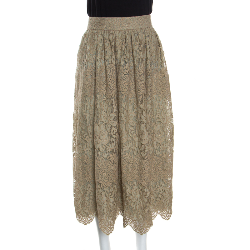 8aec1d317e Buy Valentino Pastel Green Metallic Floral Lace Overlay Gathered ...