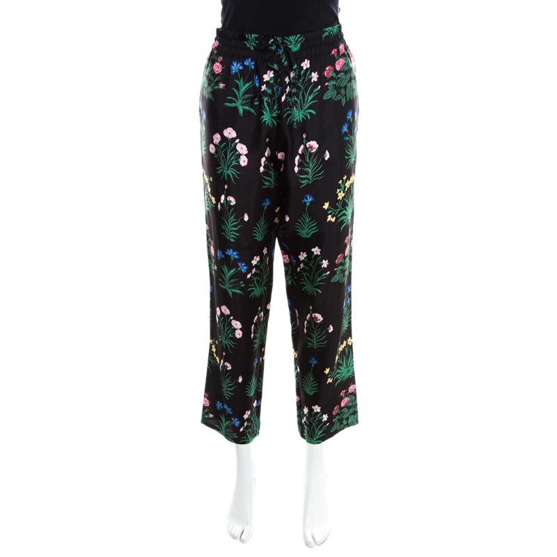 Valentino Black Floral Printed Silk Drawstring Detail Pyjama Pants L