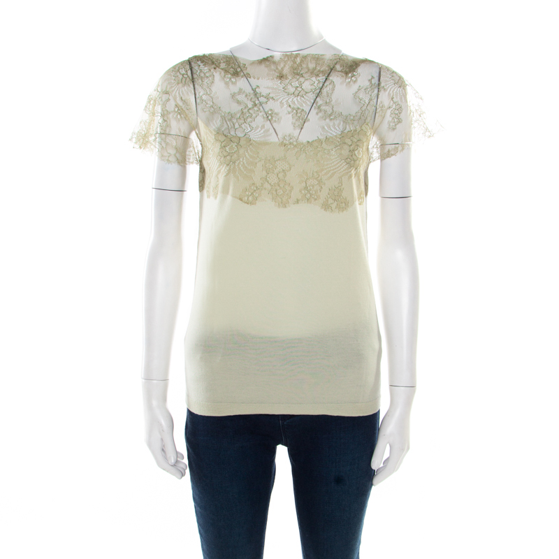 Valentino Mint Green Knit Floral Lace Overlay Boat Neck Top M
