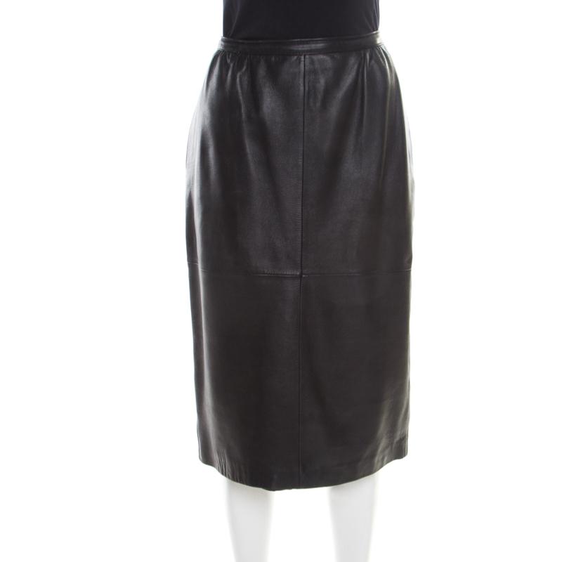 Valentino For Neiman Marcus Vintage Black Leather Midi Skirt M