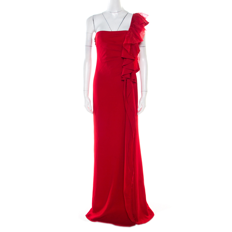 Valentino Red Ruffle Detail One Shoulder Gown M