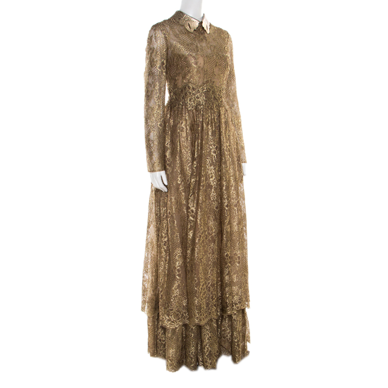 Valentino Metallic Gold Floral Lace Studded Leather Collar Detail Gown