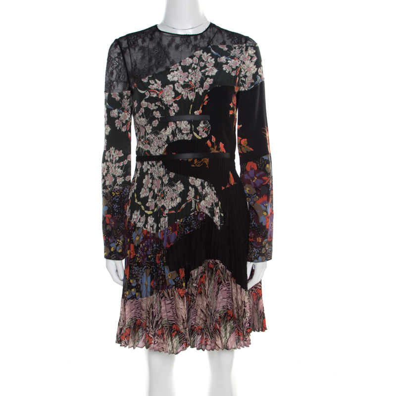 Valentino Multicolor Garden Party Print Silk Chantilly Lace Paneled Pleated Dress S