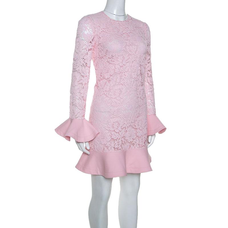 Valentino Pink Lace Ruffle Trim Dress