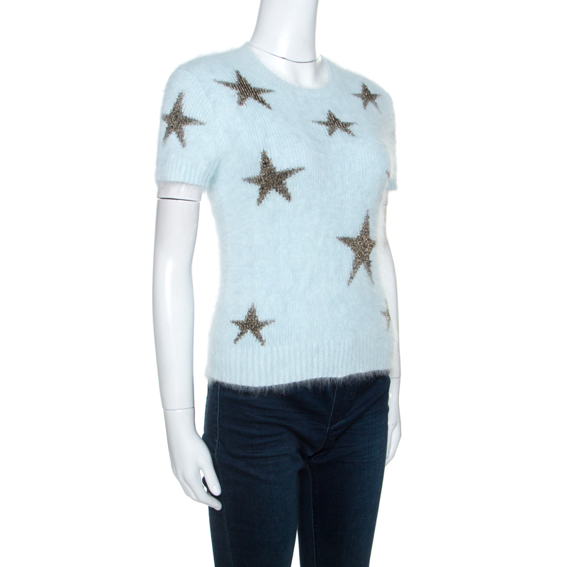 Valentino Luz Azul De Lã Angorá Manga Curta Estrelas Intarsia Jumper S