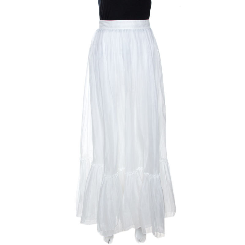 Valentino White Cotton Flared Maxi Skirt S