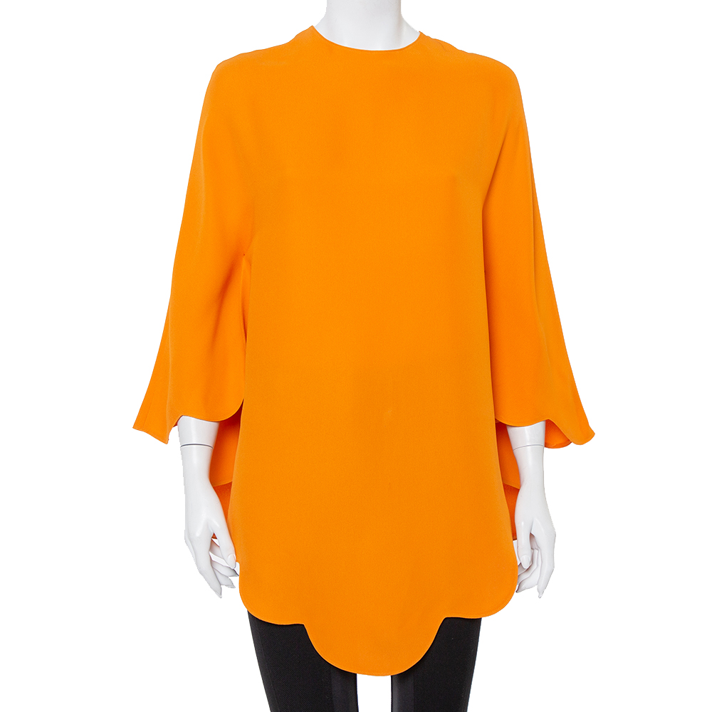 Pre-owned Valentino Orange Silk Scalloped Edge Cady Poncho S