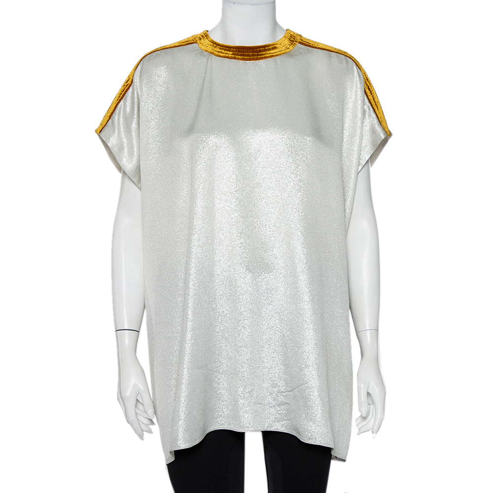 Pre-owned Valentino Silver Lurex Synthetic Contrast Velvet Trim Oversized Top S