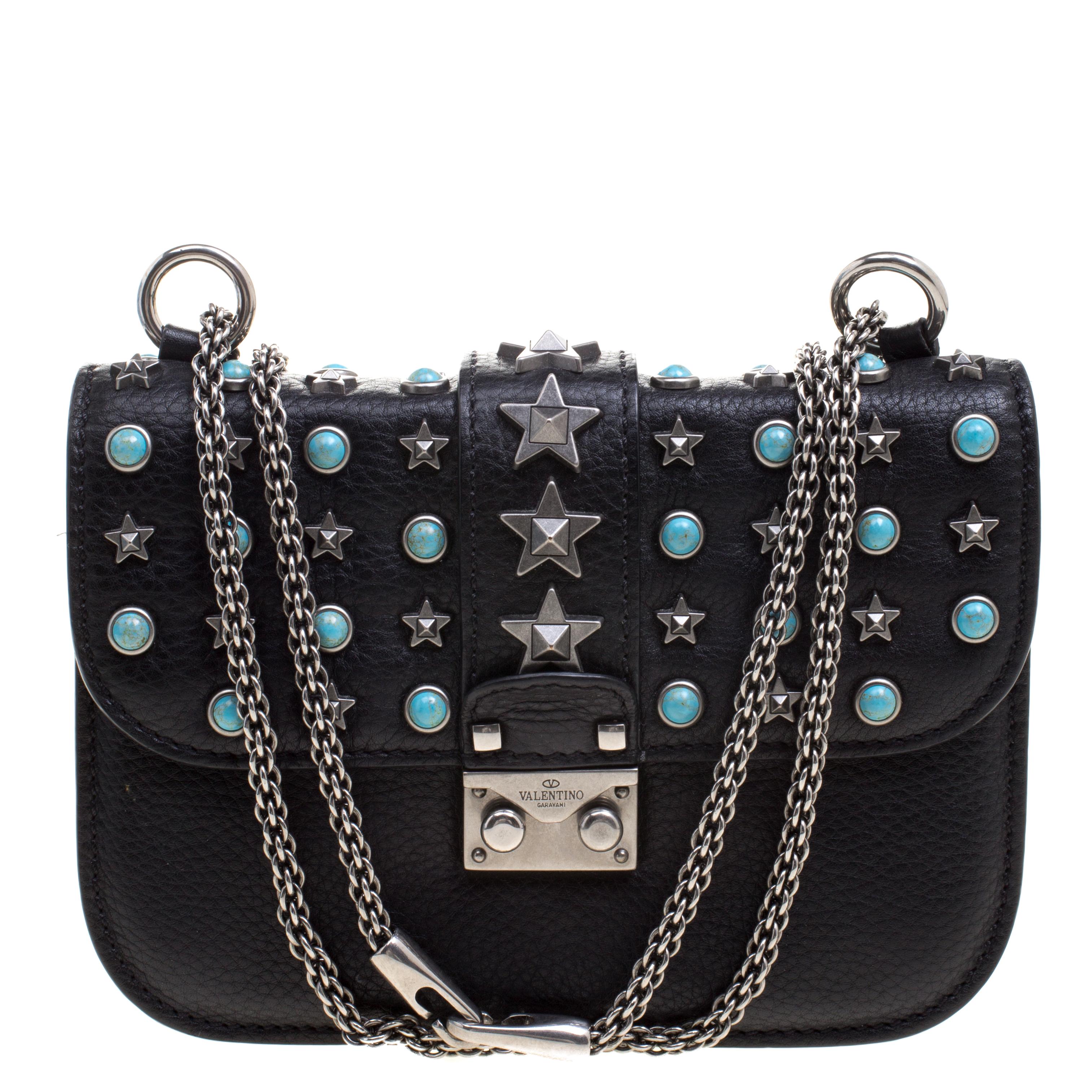 2fc33a24a5 Buy Valentino Black Leather Small Star Rockstud Lock Shoulder Bag ...